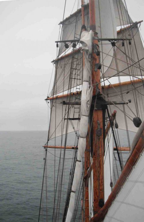 Setting all sails save for the mizzen and main top sails
